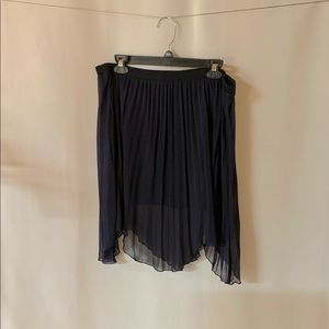 Free people navy pleated asymmetrical skirt medium